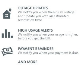 Key features of Alerts include Outage Updates, High Usage Alerts, Payment Reminders, and more.