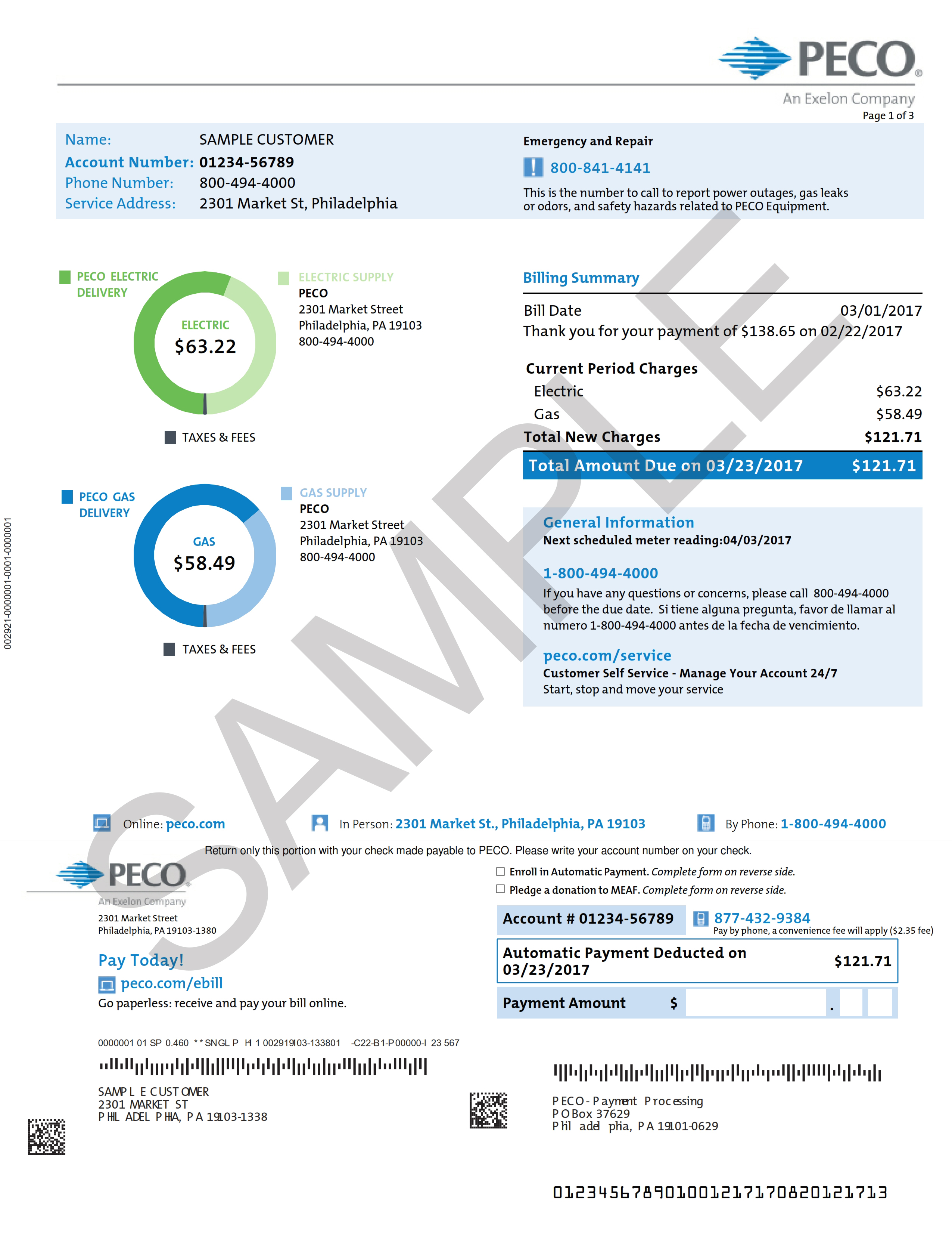 peco telephone number Sample Home Electric and Gas Bill | PECO - An Exelon Company