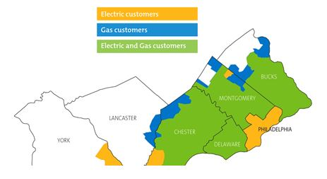 Service area map; PECO provides Electric and Gas service in Montogomery, Bucks, Delaware, and Chester counties, and Electric service in Philadephia and York; in Lancaster county, PECO provides Gas service.