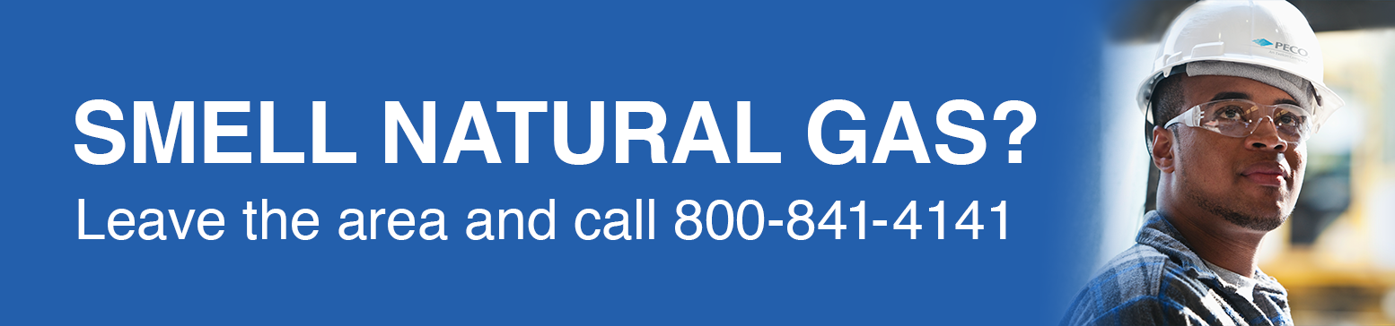 Image reads, Smell Natural Gas? Leave the area and call 800-841-4141