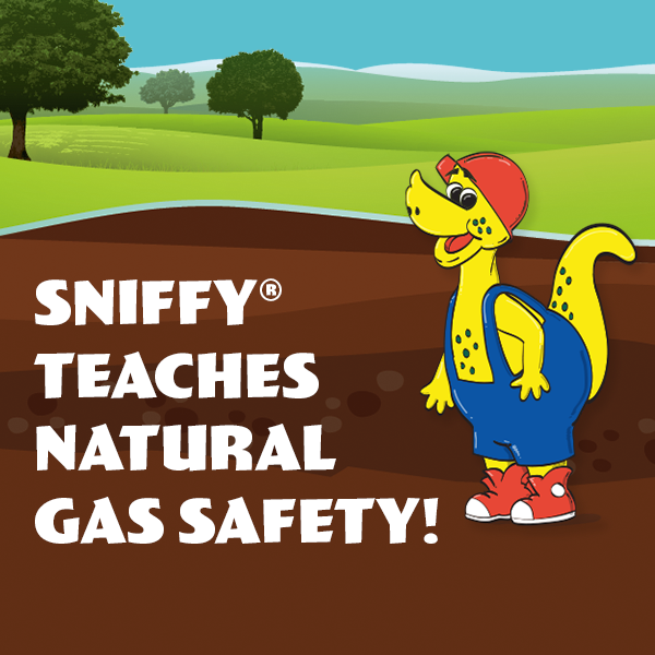 Image reads, Sniffy Teaches Natural Gas Saftey